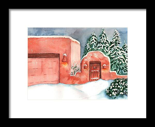 Landscape Framed Print featuring the painting A Winter Clad Santa Fe by Sharon Mick