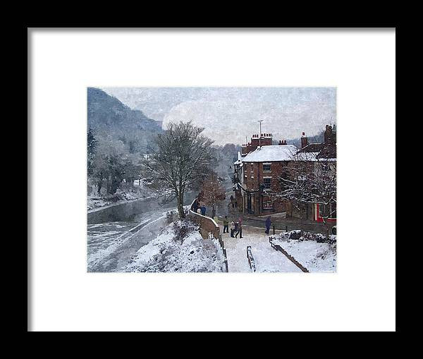 Digital Art Framed Print featuring the photograph A Wintry Street Scene In Ironbridge Gorge England In Digital Oil by Sarah Broadmeadow-Thomas