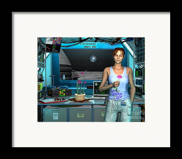 Space Exploration Framed Print featuring the digital art A Young Radio Astronomer Stationed by Walter Myers