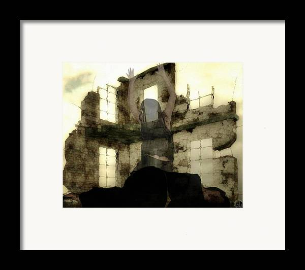 Digital Art Framed Print featuring the digital art Abandoned House by Gun Legler