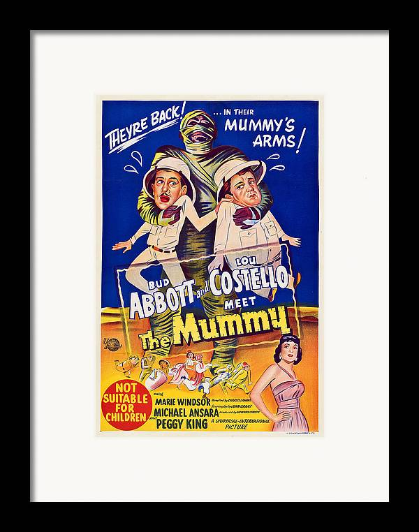 1950s Poster Art Framed Print featuring the photograph Abbott And Costello Meet The Mummy by Everett