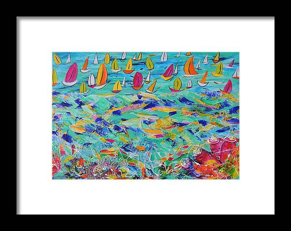 Yachts Framed Print featuring the painting Above And Below by Lyn Olsen
