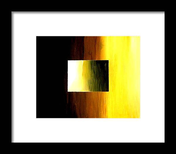 Abstract Framed Print featuring the painting Abstract 3d Golden Square by Teo Alfonso
