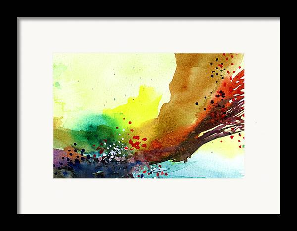 Red Framed Print featuring the painting Abstract 5 by Anil Nene
