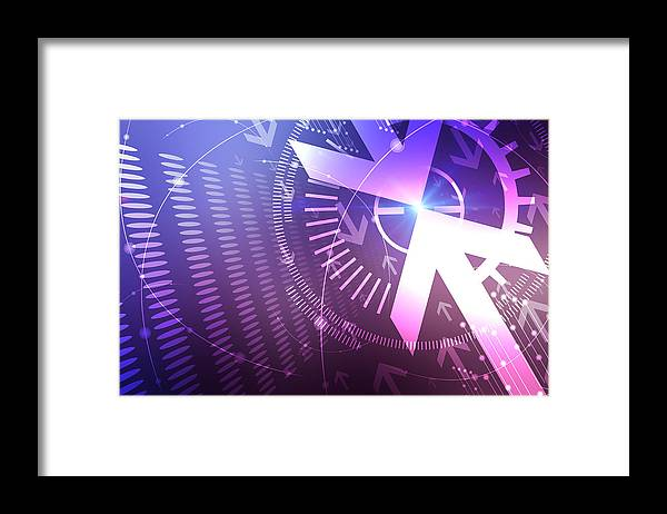 Abstract Framed Print featuring the digital art Abstract Blue And Pink Arrows Background by Nattapon Wongwean