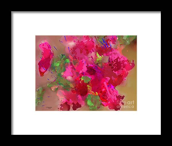 Abstract Framed Print featuring the painting Abstract Bougainvillea Painting Floral Wall Art by Judy Filarecki