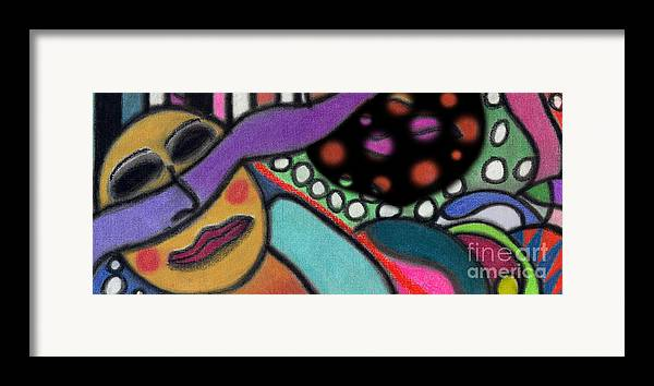 Abstract Framed Print featuring the pastel Abstract Circular Figure by Christine Perry