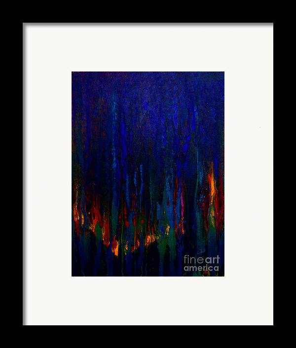 Abstract Framed Print featuring the painting Abstract Evergreens by Claire Bull