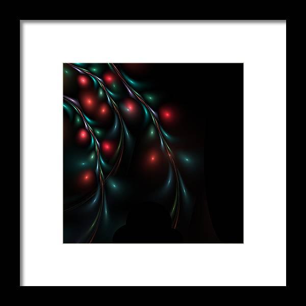 Background Framed Print featuring the digital art abstract Holly on limbs by Kim French