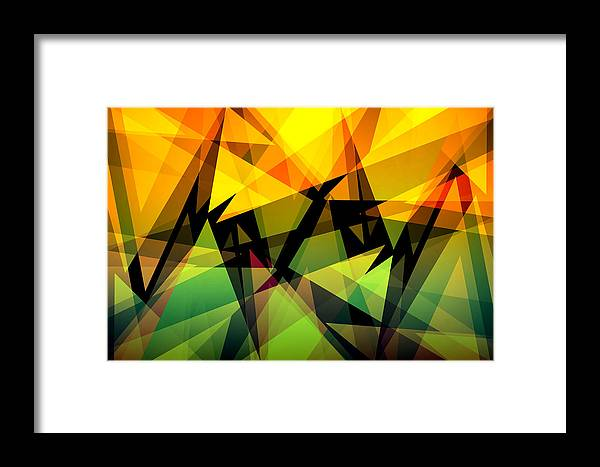Abstract Framed Print featuring the digital art Abstract Triangle Colorful Background by Nattapon Wongwean