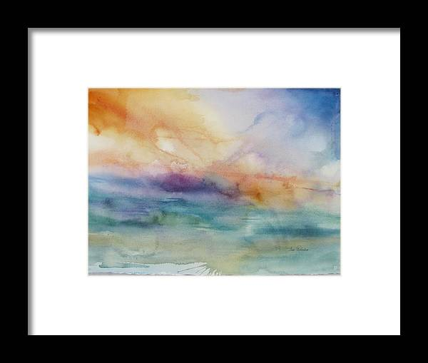 Abstract - Watercolor Of Sky And Sea. Framed Print featuring the painting Abstract Vi by Fran Richardson