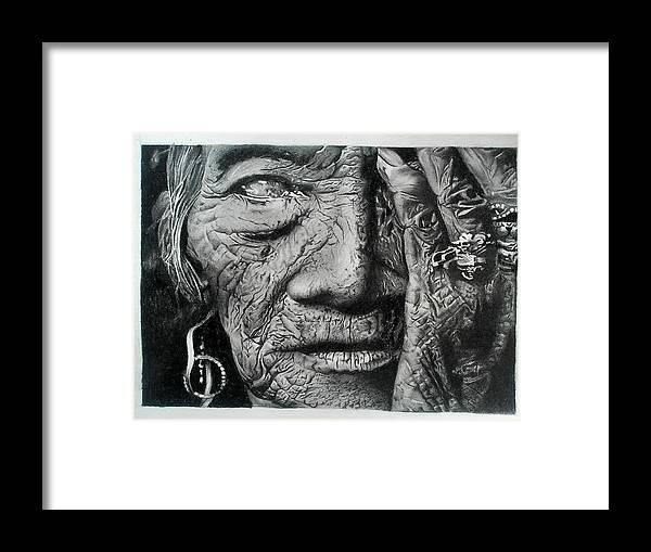 'sketch Framed Print featuring the drawing Aching Loneliness Of Life by Sohaj Singh Brar