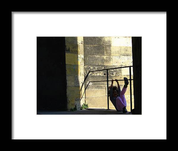Girl Framed Print featuring the photograph Acrobatic Girl by Alexandre Lafreniere