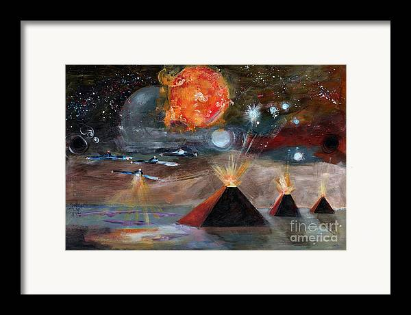 Space Framed Print featuring the painting Activation by Ginette Callaway