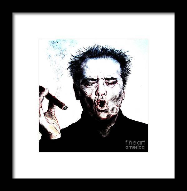 Jack Nicholson Framed Print featuring the drawing Actor Jack Nicholson Smoking II by Jim Fitzpatrick