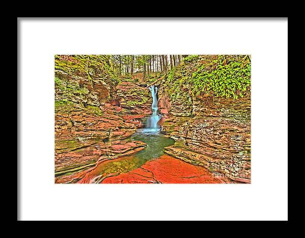Ricketts Glen Framed Print featuring the photograph Adams Falls by Adam Jewell