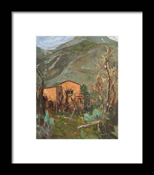 Landscape Framed Print featuring the painting Adobe And Taos Mountains by Jennifer Riefenberg