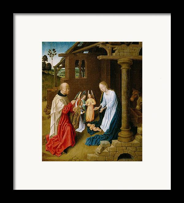 Adoration Framed Print featuring the painting Adoration Of The Christ Child by Master of San Ildefonso