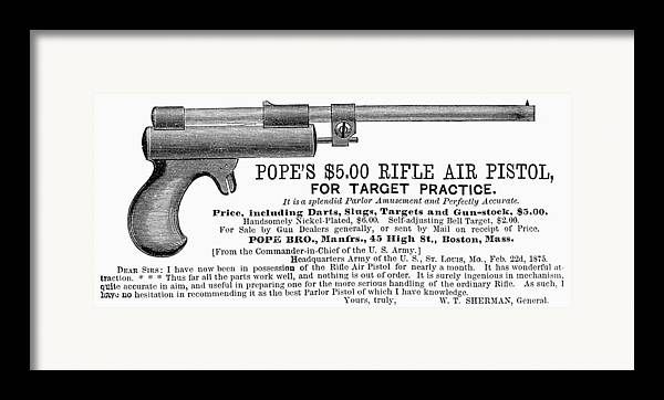 1875 Framed Print featuring the photograph Advertisement: Air Pistol by Granger