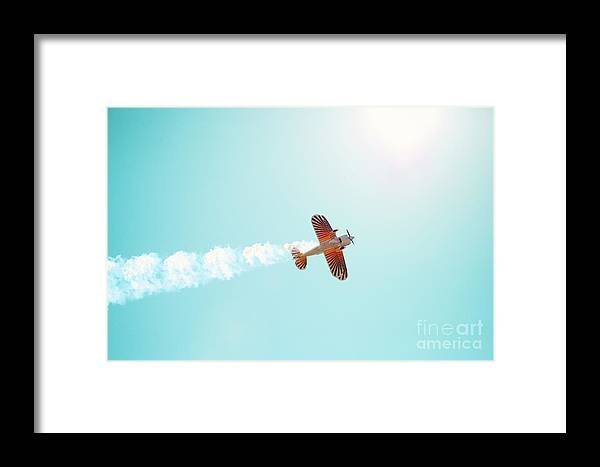 Airplane Framed Print featuring the photograph Aerobatic Biplane Inverted by Kim Fearheiley