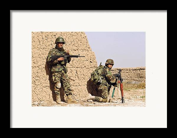 Afghanistan Framed Print featuring the photograph Afghan Soldiers Conduct A Dismounted by Stocktrek Images