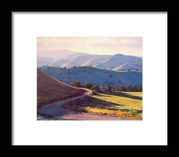 Rural Framed Print featuring the painting Afternoon Light Kanimbla Valley by Graham Gercken