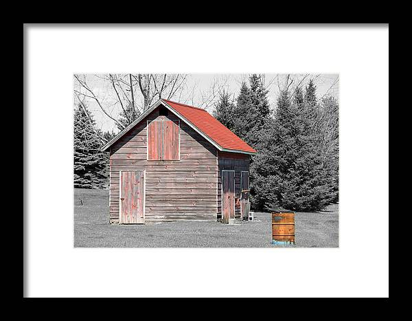 Selective Color Framed Print featuring the photograph Aging Shed And Barrel by Mark J Seefeldt