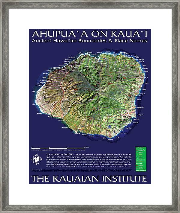 picture relating to Printable Map of Kauai known as Ahupuaa Upon Kauai Framed Print