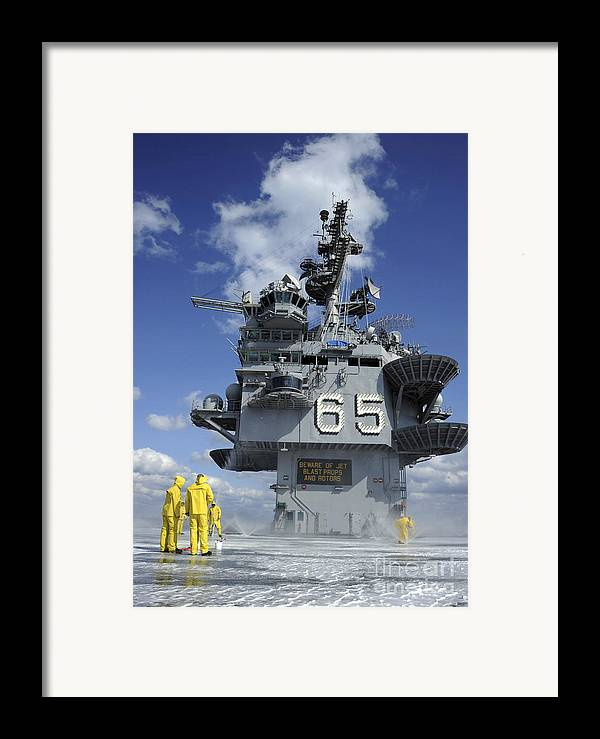 Flight Deck Framed Print featuring the photograph Air Department Sailors Test by Stocktrek Images