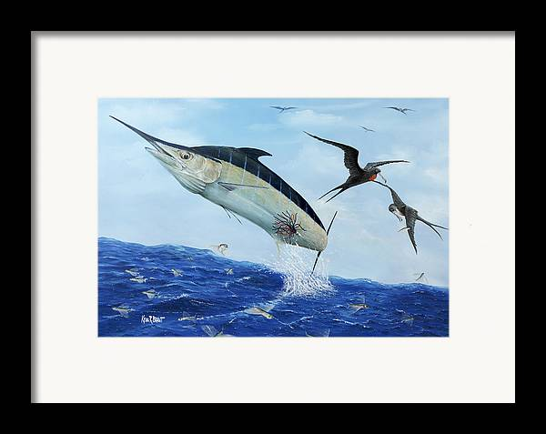 Blue Marlin Framed Print featuring the painting Airbourne by Kevin Brant