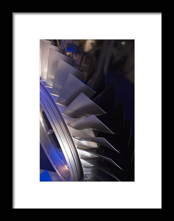 Aerospace Framed Print featuring the photograph Aircraft Engine Fan Blades. by Mark Williamson