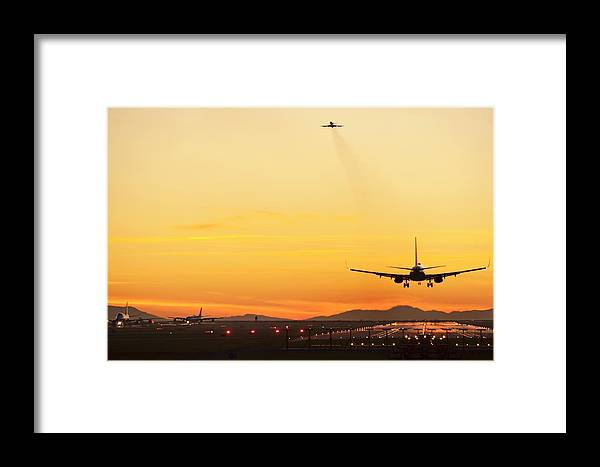 Sunset Framed Print featuring the photograph Airport At Sunset by David Nunuk