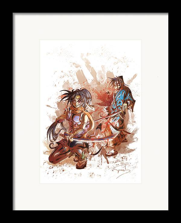 Tuan Framed Print featuring the drawing Aku Soku Zan 2 by Tuan HollaBack