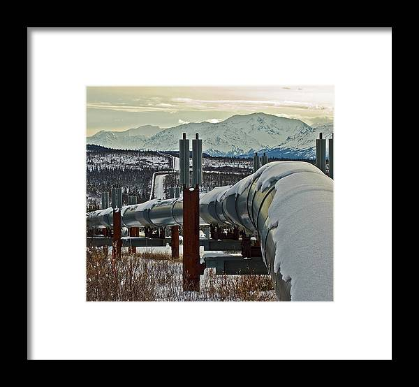 Alaska Framed Print featuring the photograph Alaskan Pipeline by Jim and Kim Shivers
