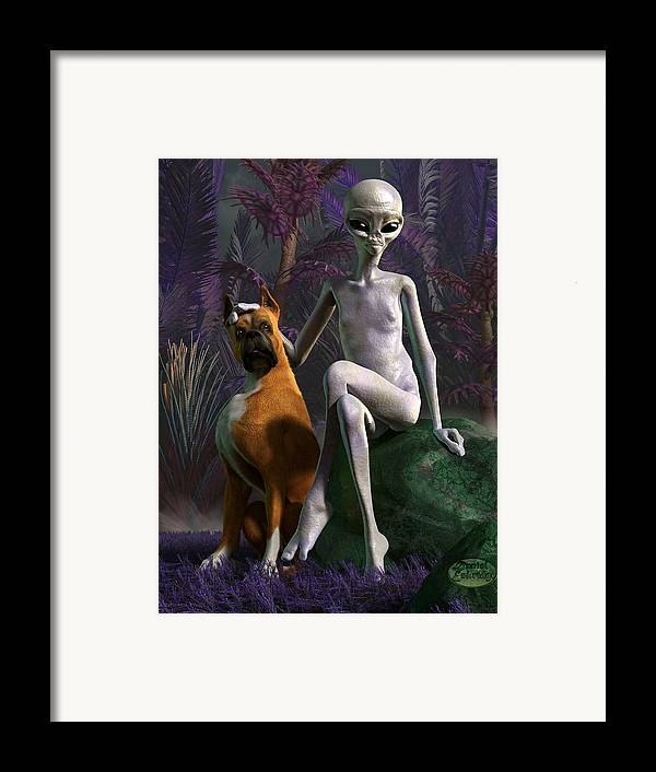 Framed Print featuring the digital art Alien And Dog by Daniel Eskridge