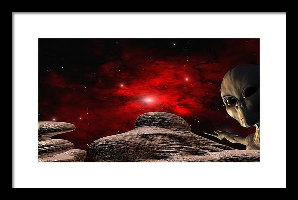 Space Framed Print featuring the digital art Alien Planet by Robert aka Bobby Ray Howle