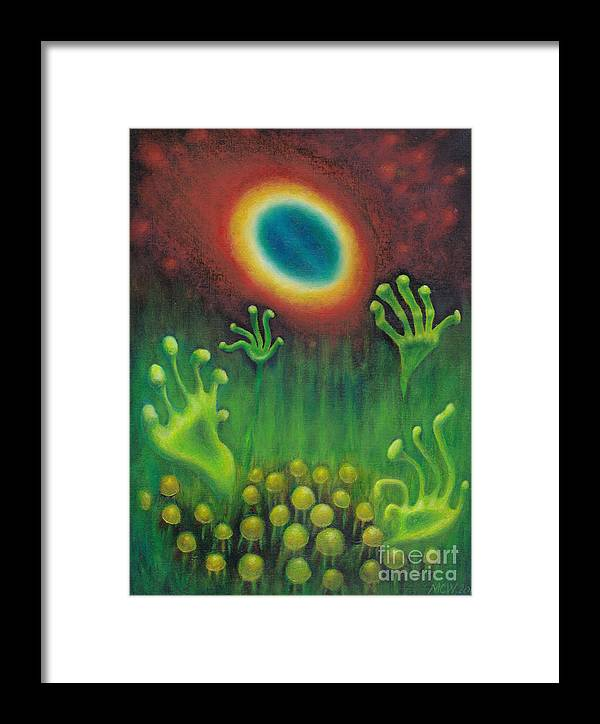 Aliens Framed Print featuring the painting Alien Plants by Michelle Cavanaugh-Wilson