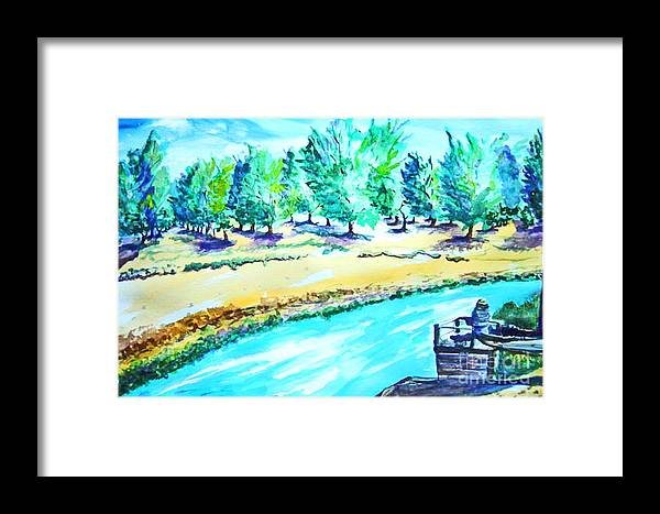 Lake Framed Print featuring the mixed media Almond Grove by Drina Fried