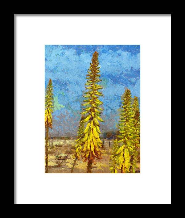 Aloe Vera Framed Print featuring the painting Aloe Vera Flowers by Balram Panikkaserry