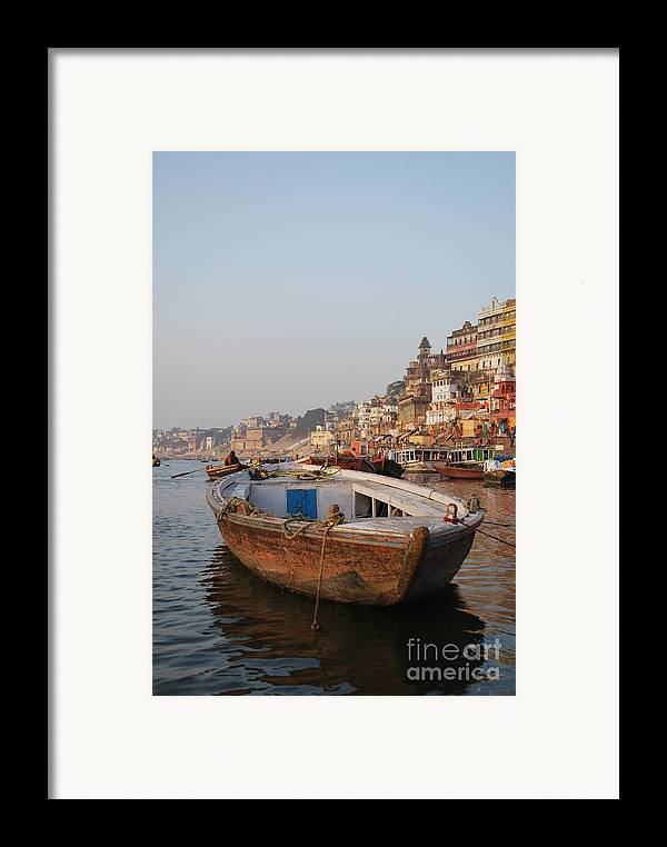 Varanasi Framed Print featuring the photograph Alone On The Ganges by Jen Bodendorfer