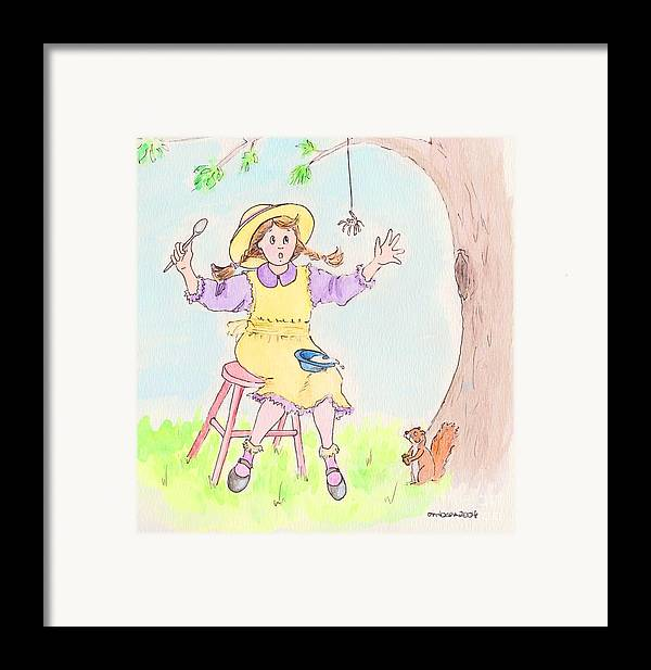 Miss Muffet Spider Squirrel Porridge Framed Print featuring the drawing Along Came A Spider Little Miss Muffet by Marybeth Friel-Patton