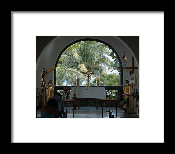 Mexico Framed Print featuring the photograph Altar Amid Palms by Barry Doherty