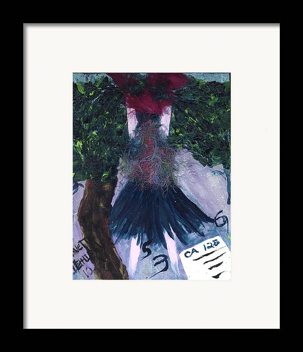 Women Framed Print featuring the painting Althea Awaits Her Ca 125 Report by Annette McElhiney