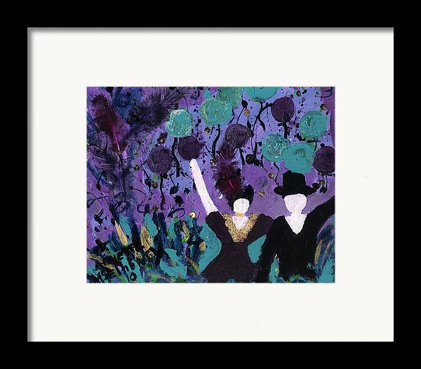 Women Framed Print featuring the painting Althea Dances With Ned by Annette McElhiney