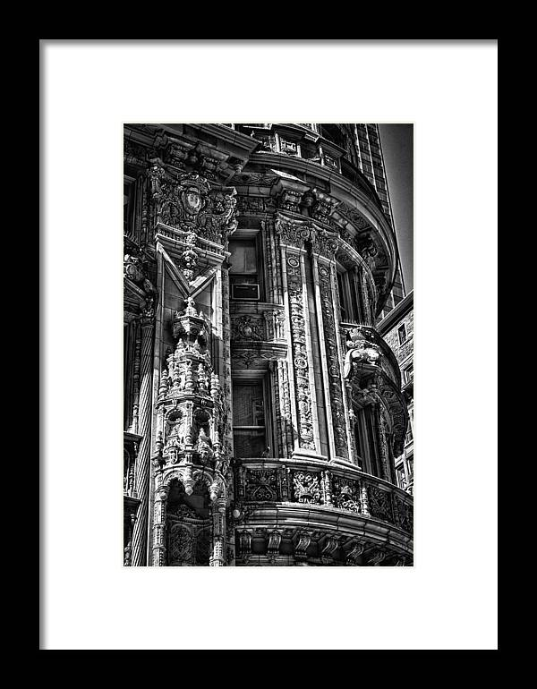 Black Russian Framed Print featuring the photograph Alwyn Court Building Detail 30 by Val Black Russian Tourchin
