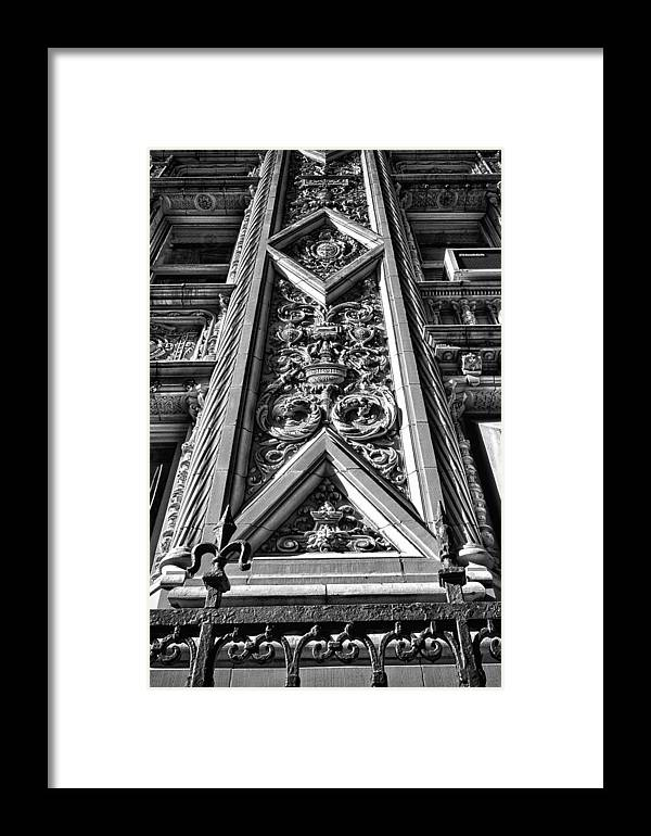 Black Russian Framed Print featuring the photograph Alwyn Court Building Detail 6 by Val Black Russian Tourchin