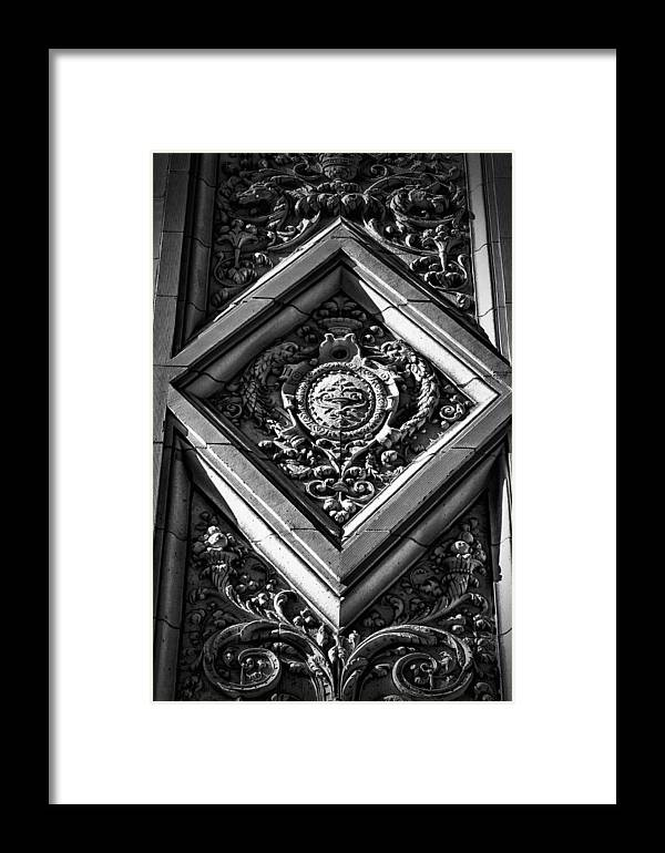 Black Russian Framed Print featuring the photograph Alwyn Court Building Detail 9 by Val Black Russian Tourchin