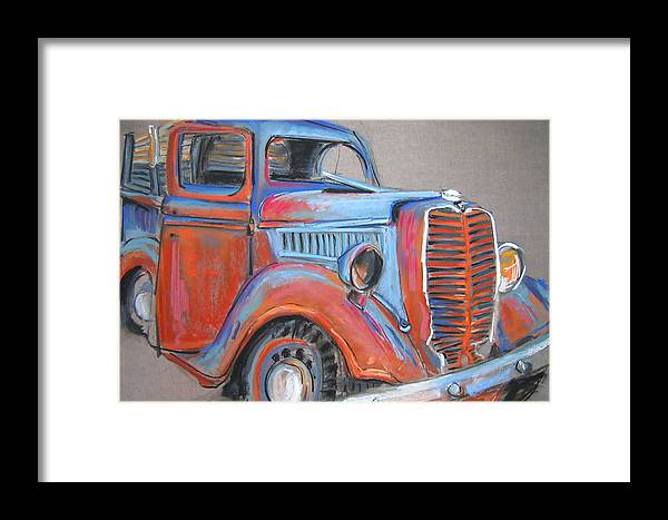 Old Framed Print featuring the pastel Amarillo Truck by Barbara Richert
