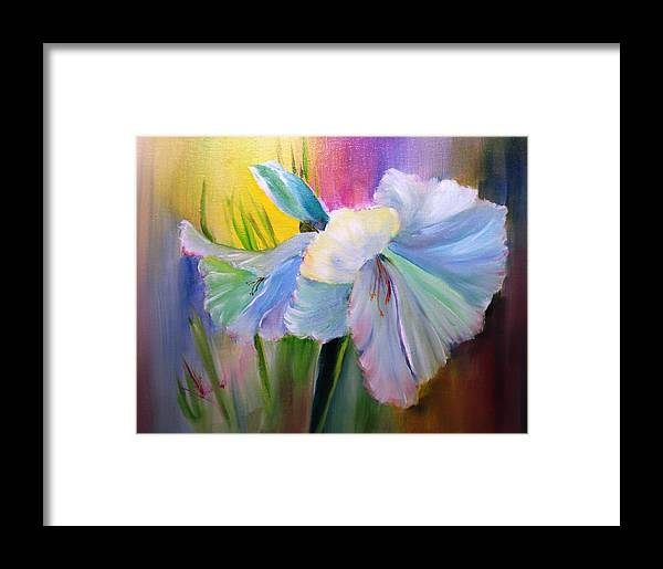 Oil Paintings Framed Print featuring the painting Amaryllis by Larry Hamilton