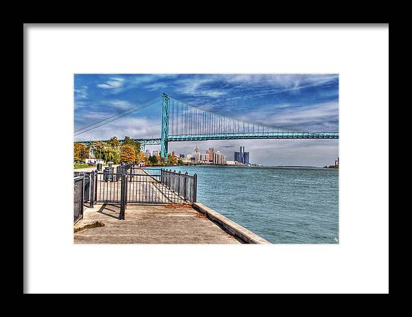Framed Print featuring the photograph Ambassador Bridge Detroit MI by Nicholas Grunas